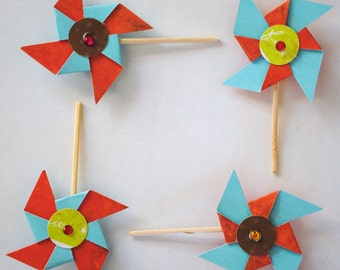 """Custom Pinwheels (set of 4) 1.5"""" X 3"""" pins or magnets wholesale pricing Baby Shower favors or Cup cake toppers"""