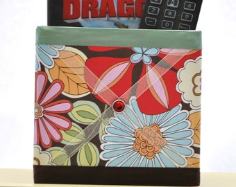 Large Flowers Decorative Box Organizer with Memory Board Ribbon