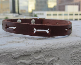 "Bone Leather Collar 5-8"" XXSmall"