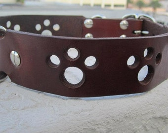 "Paws Leather Dog Collar 23-26""  XXL"