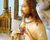 Vintage Sacred Heart Jesus Statue Chalkware