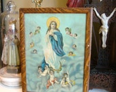 SALE-Antique Our Lady of Assumption Religious Print Framed