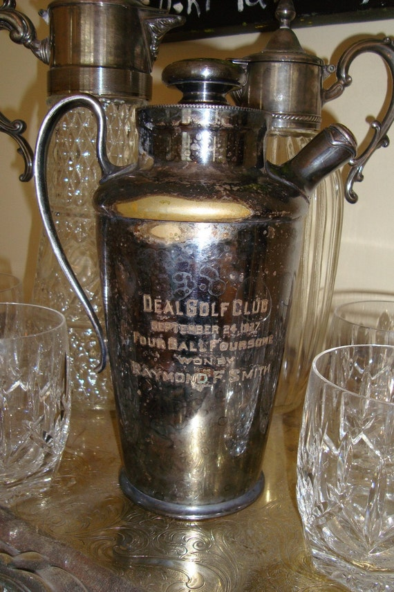 Vintage Silverplate 1927 Golf Trophy Cocktail Shaker
