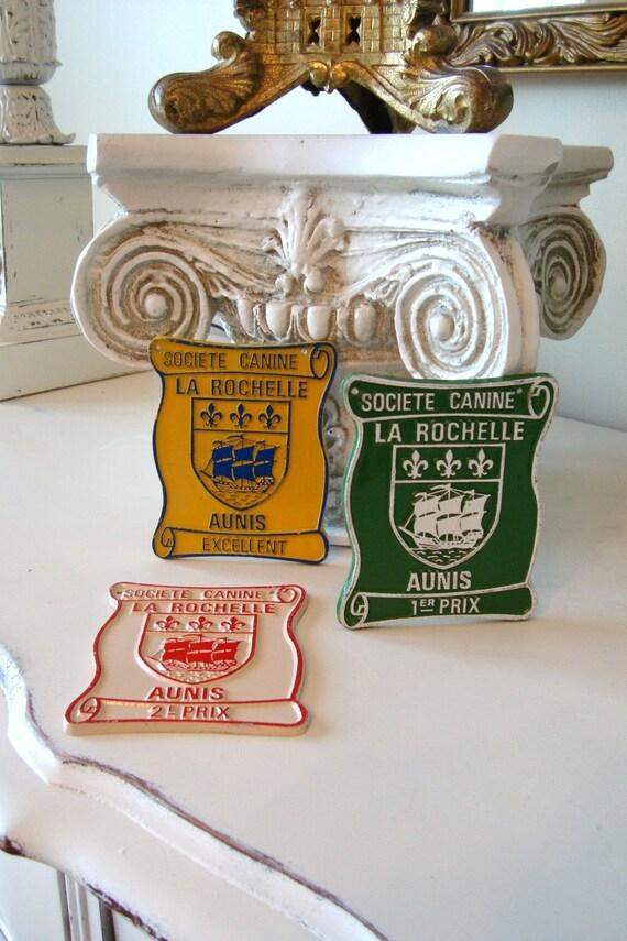 SALE--Vintage French Dog Trophy Set of Three