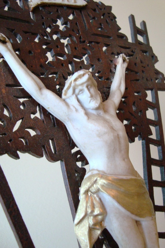Antique FRENCH Crucifix Carved Wood Porcelain Corpus 1800s