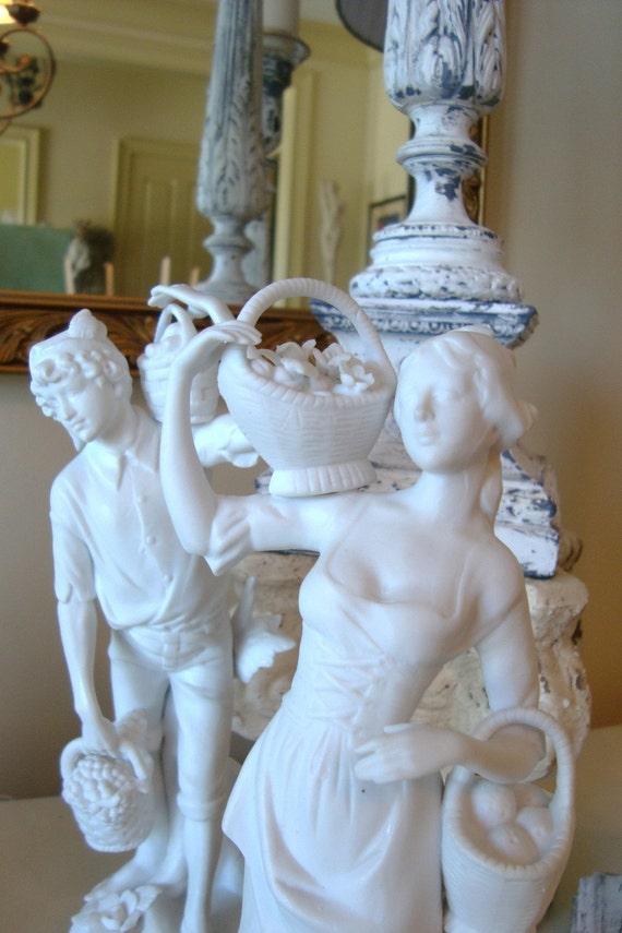 Vintage Pr French Bisque Porcelain Parian Statues on Gold Base