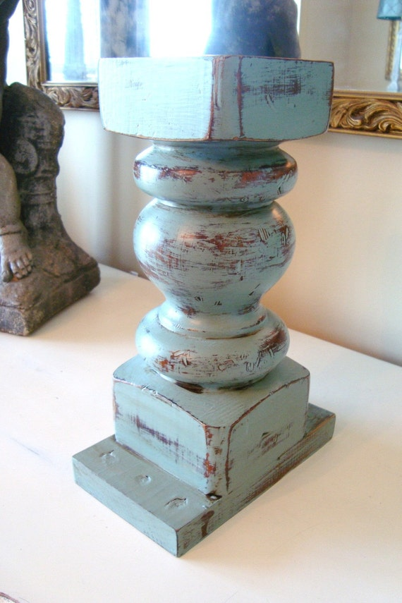 Vintage Balustrade Candle Holder Architectural Salvage Turquoise