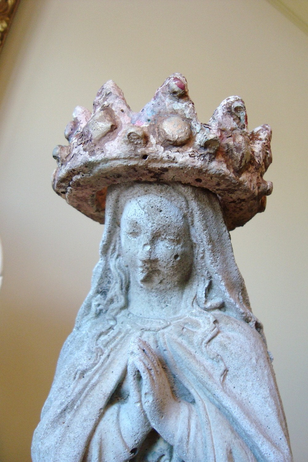 Vintage Mary Statue With Crown Concrete Garden