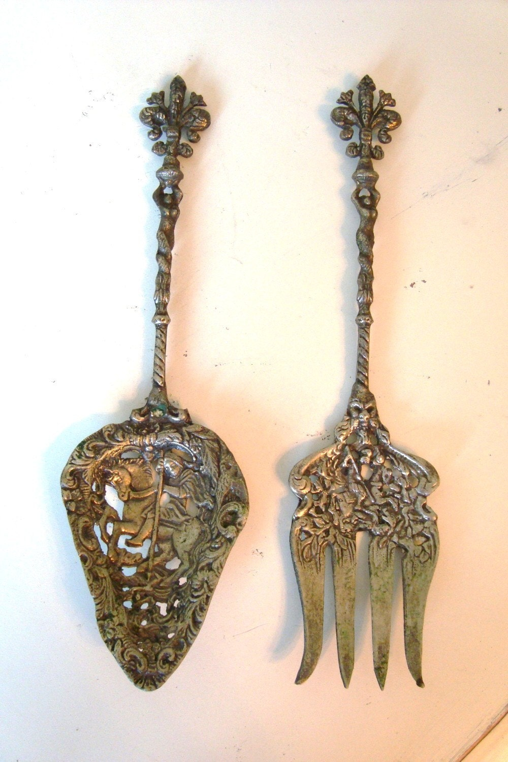 antique pr italy florentine serving fork spoon brass