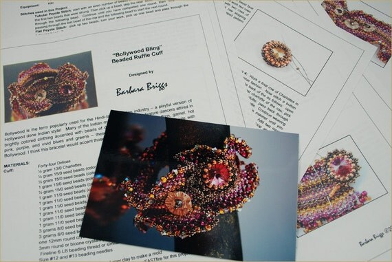 "Tutorial for the ""Bollywood Bling"" Ruffle Cuff"