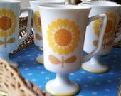 Vintage set of 6  Flower Pedestal Mugs