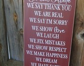 In our Home - House Rules board - with vinyl lettering