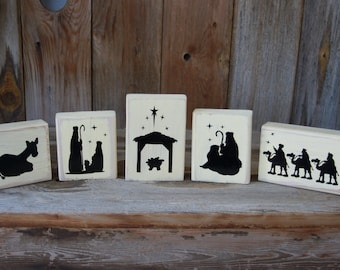 5 piece wooden Nativity Set - with Vinyl Lettering, christmas home decor,