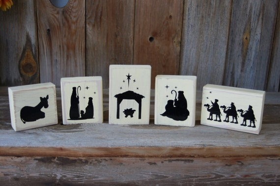 Christmas Nativity Scene Wood Blocks 5 Piece Wooden Nativity