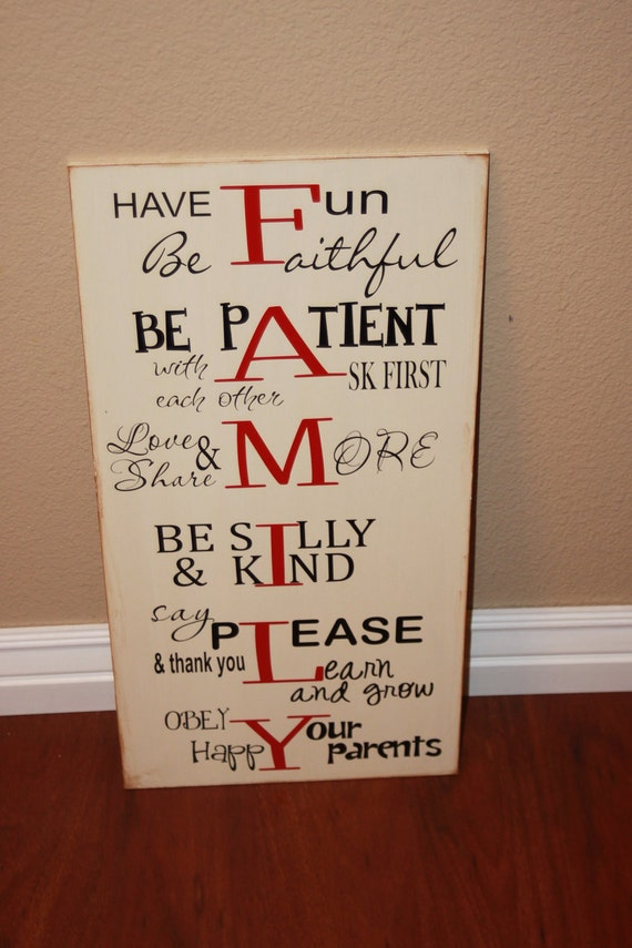 items op etsy die op family rules and house motto board