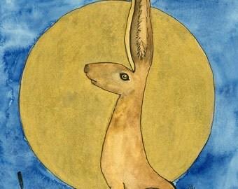Magical moon gazing golden Hare -  A4 print