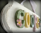 6 letter limited edition custom name sign plaque -- springtime shabby chic -- made to order for your style, taste and decor