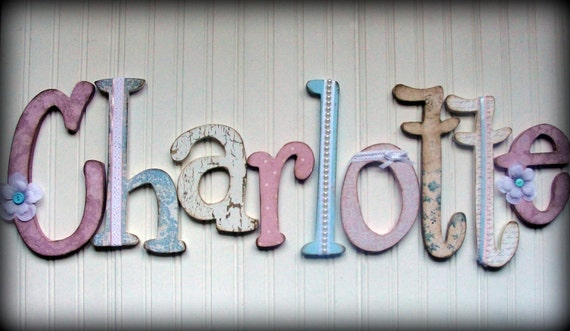 Individual hanging shabby chic wall letters - made to order - variety of sizes, fonts and styles available