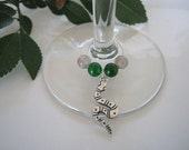 SLYTHERIN inspired wine glass charm ring (long snake)