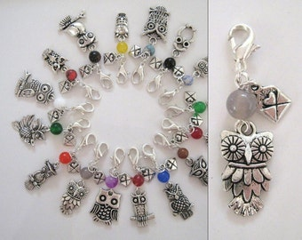OWL POST dangle charm, zipper pull, key chain - Choose your owl and bead color