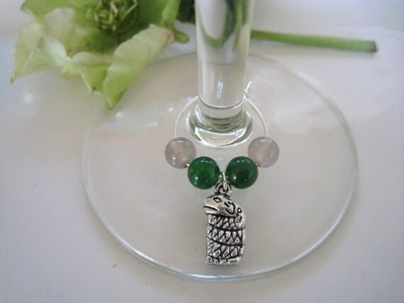 SLYTHERIN inspired wine glass charm ring (coiled snake)