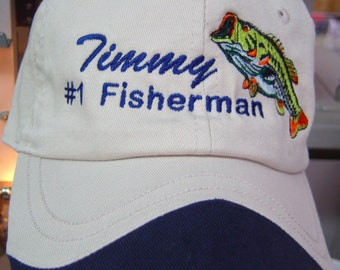 PERSONALIZED Bass Fisherman Hat Great for Fathers Day, Holiday gift for him
