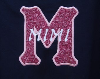 Mimi embroidered appliqued sweatshirt or Tee shirt
