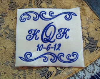 embroidered monogrammed wedding dress label w frame 1