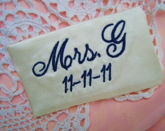 embroidered monogrammed wedding dress label