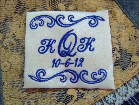 embroidered monogrammed wedding dress label w frame 1