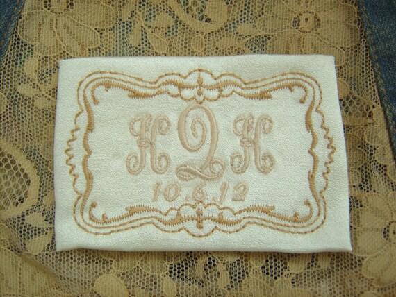 embroidered monogrammed wedding dress label w frame 2