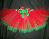 Christmas tutu double layer red/green custom made any size Newborn-4t