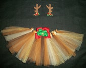 "Christmas tutu ""Reindeer tutu"" set with antler bows custom made sizes Newborn-4t"