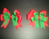 Christmas bows double layer, pair for pigtails
