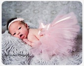Newborn tutu set pink satin and pearls, pink tutu or Newborn photoshoot