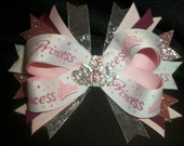 Pink Princess Bow with rhinestone tiara center