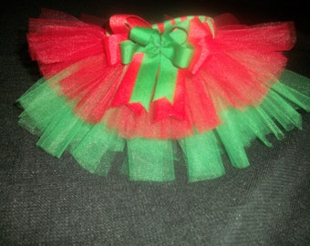 Christmas dog tutu red/green double layer, custom made up to a 12 inch waist