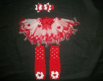 "Valentine's day tutu set, ""Queen of Hearts"" 3 pieces custom made Newborn-4t"