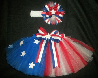 4th of July tutu set, USA princess custom made in your choice of size Newborn-4t
