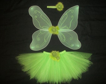 Tinkerbell tutu costume with wings and headband custom made in your size up to a 4t