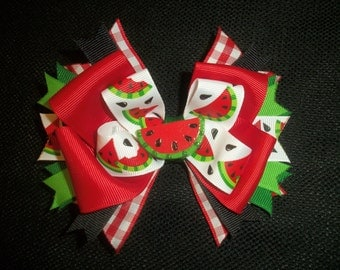 Watermelon picnic 5 inch boutique bow, watermelon hairbow