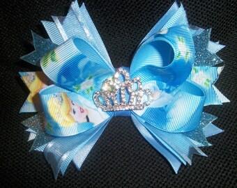 Princess Cinderella bow boutique 5 inch with rhinestone tiara center