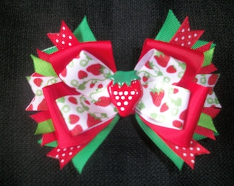 Strawberry Fields 4 inch boutique bow, strawberry hairbow