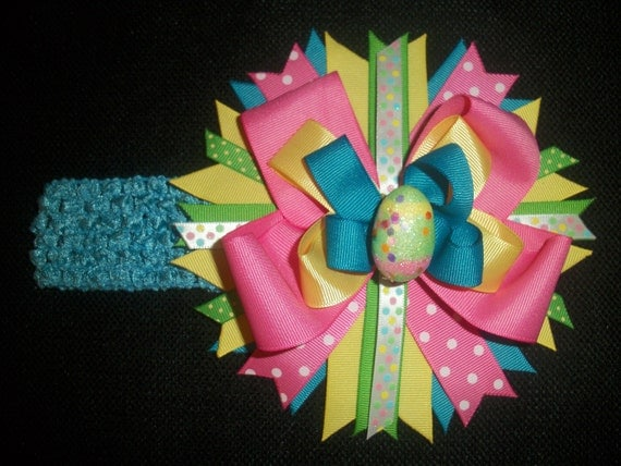 Over the top Easter egg bow with free crochet headband