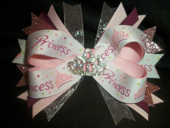 Pink Princess Bow with rhinestone tiara center