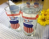 Amazing 1940 Independence Glass Tumbler God Bless America