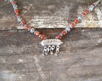 Alpaca Silver and Carnelian Colored Stone Necklace