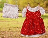 White and Red Polka-dot Prairie style Baby Girls Dress