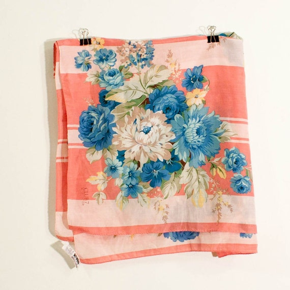vintage scarf - large pink stripes and blue bouquets