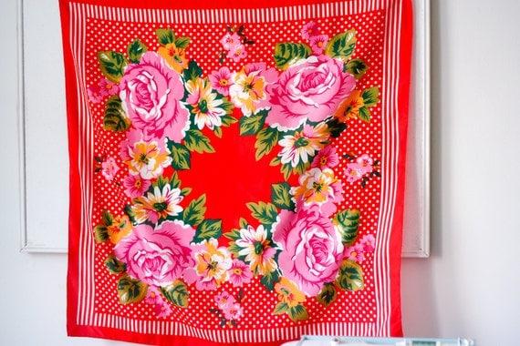 vintage square scarf / floral / polka dots